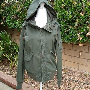 Logg olive green utility jacket with hood, S